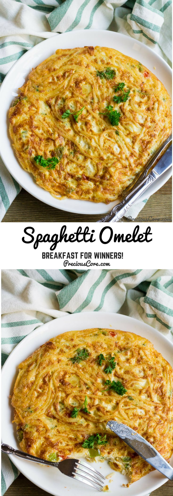 This spaghetti omelette recipe can be best described as breakfast for winners! #Breakfast #Spaghetti #PreciousCore