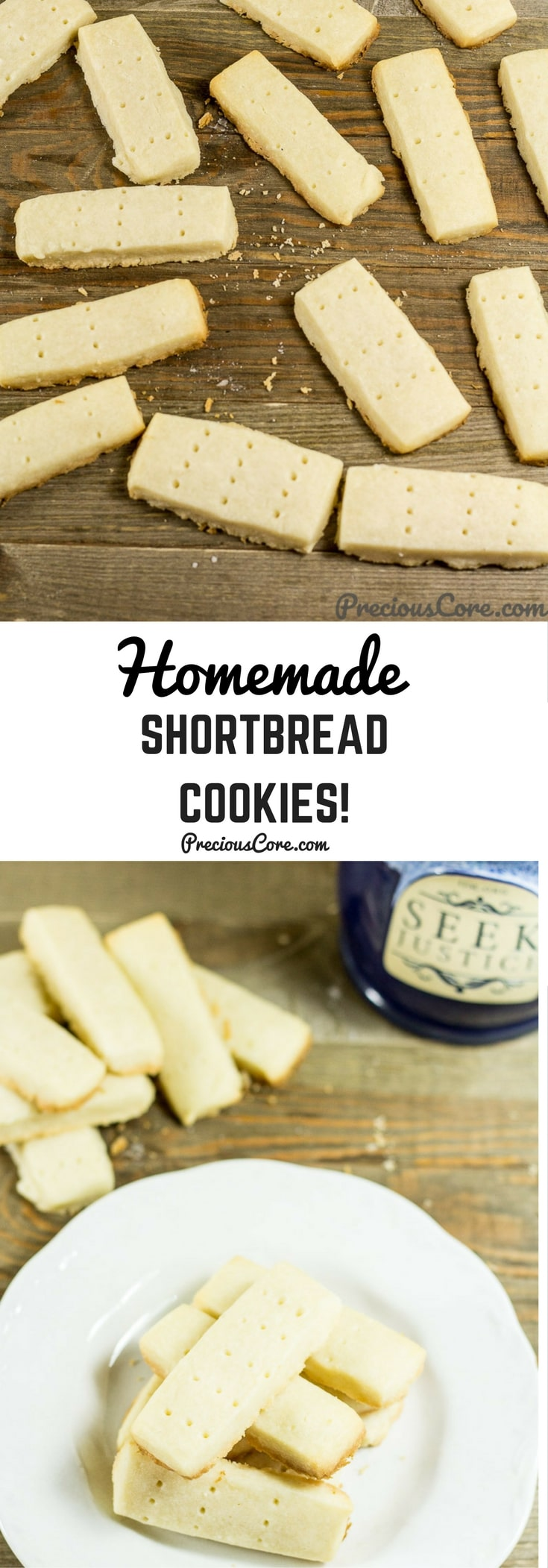 These homemade shortbread cookies are buttery and melt-in-your mouth like they should be. Only 4 ingredients needed to make shortbread cookies. Enjoy with some tea! Get the recipe on preciouscore.com. #Cookies #Shortbread #ChristmasCookies #Homemade
