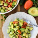 Avocado salad on a plate. Bowl of avocado salad.