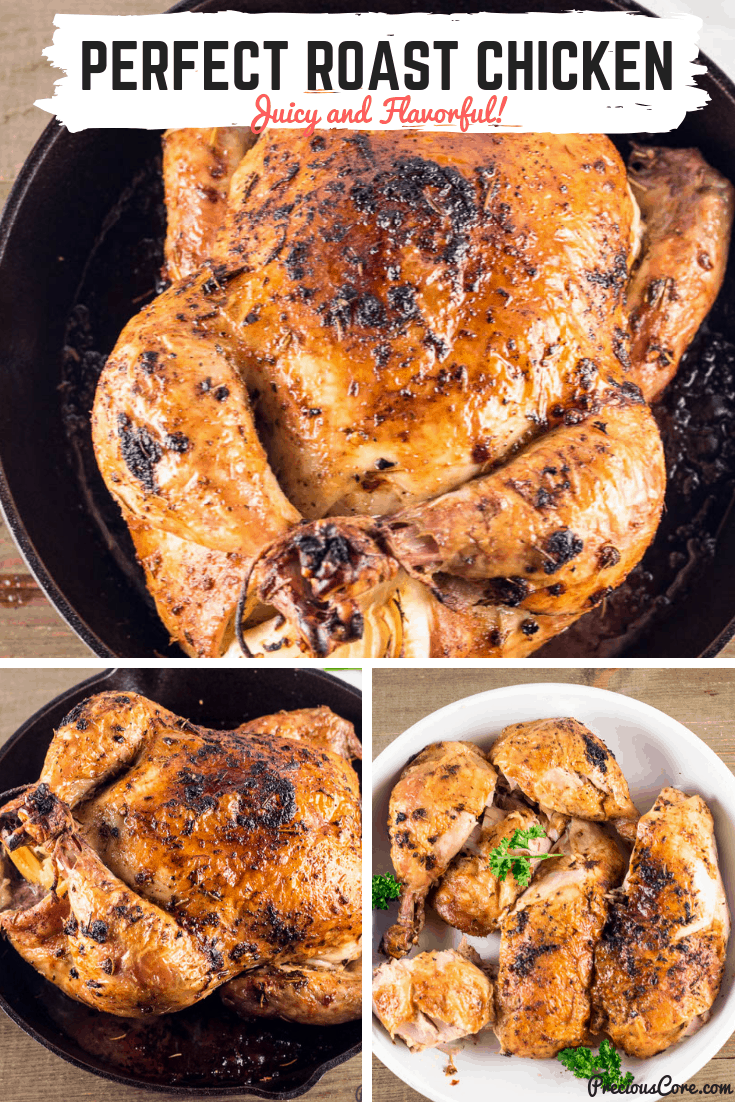 Tips on how to roast a whole chicken in the shortest time possible while ensuring that the chicken is super flavorful. This is a hit on the dinner table! #RoastChicken #Dinner #Christmas #Thanksgiving