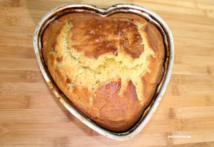 Simple perfect plain cake in a heart-shaped pan
