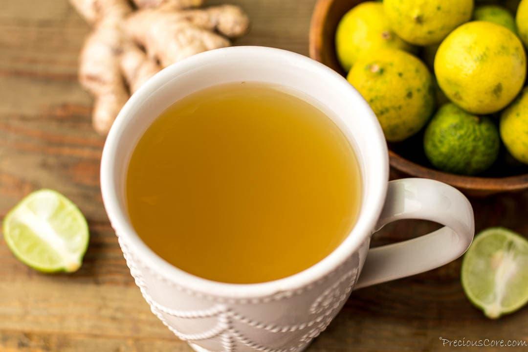 Landscape image of ginger tea in mug