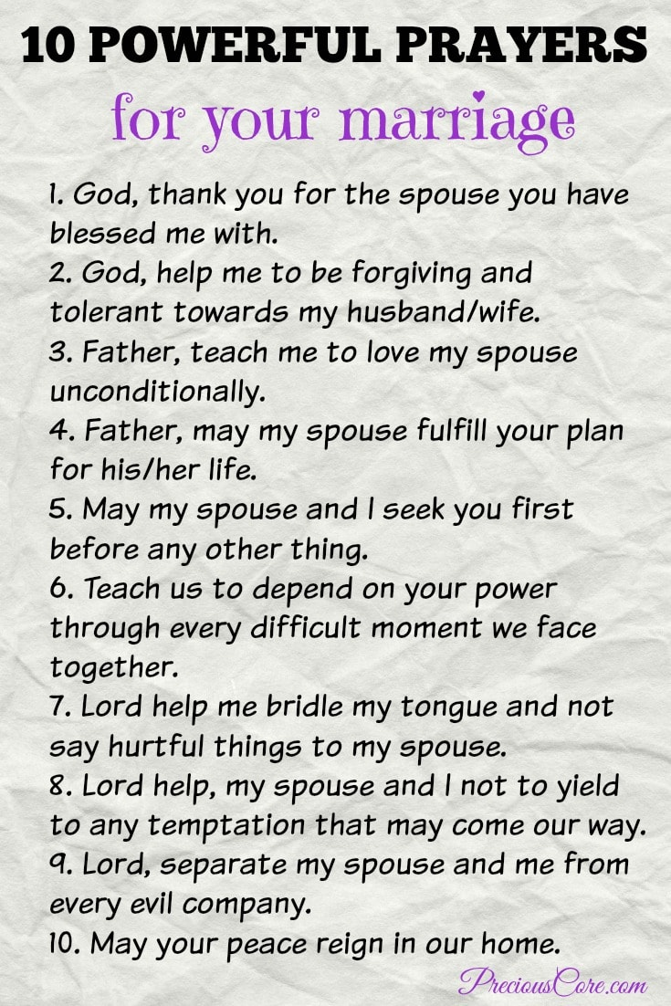 10 POWERFUL PRAYERS FOR YOUR MARRIAGE | Precious Core