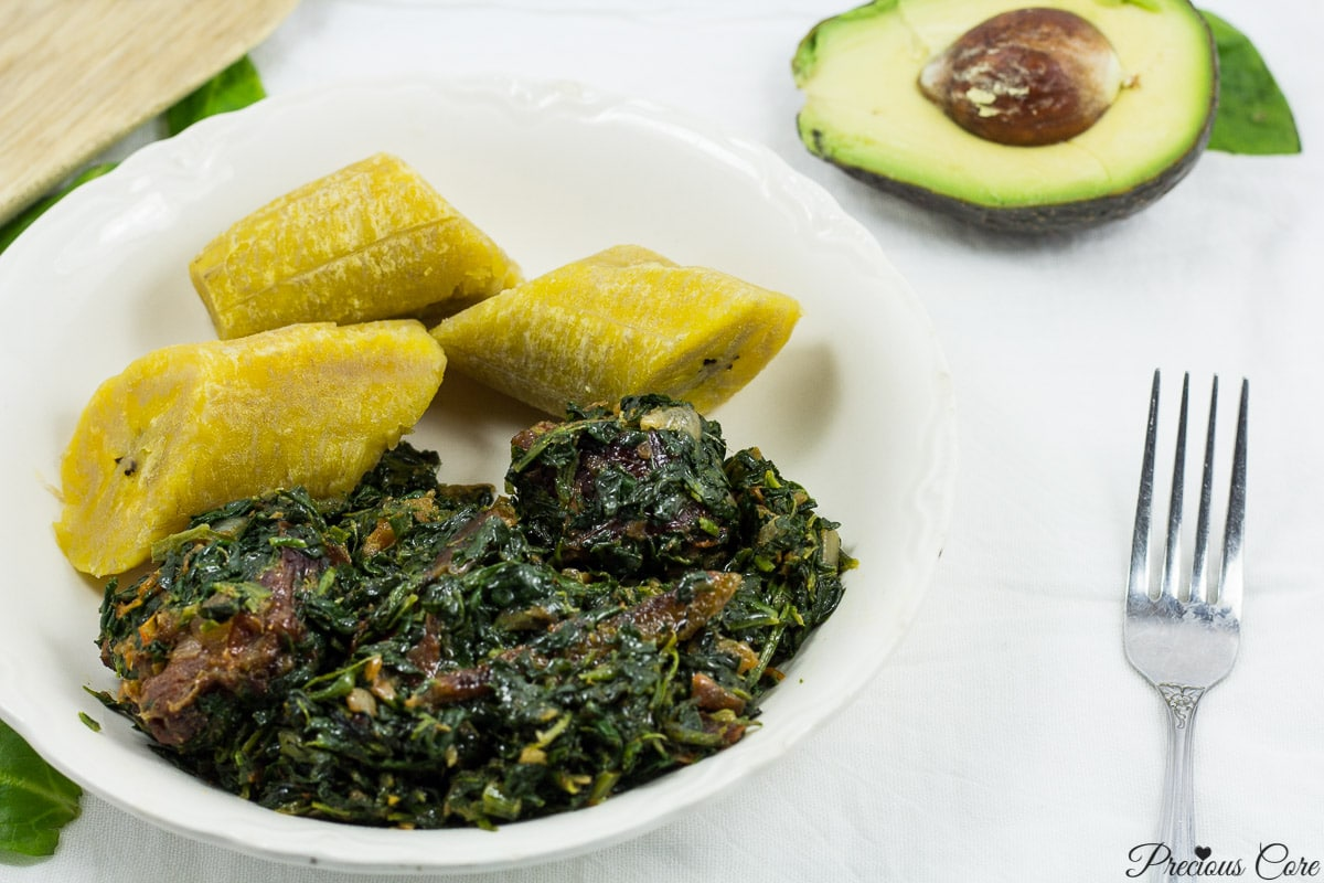 African Stewed Spinach with plantains