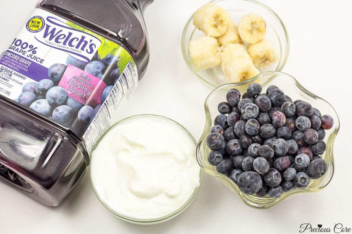 ingredients for 4-ingredient purple smoothie