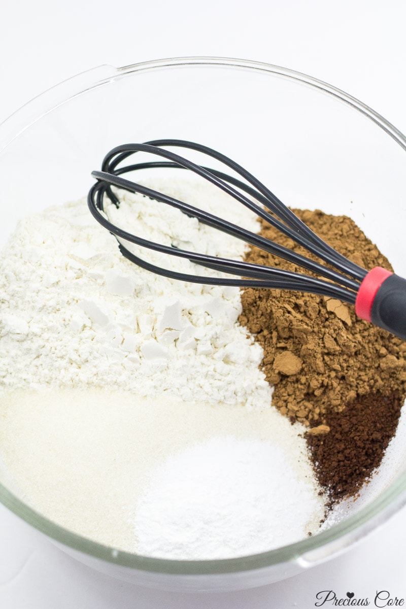 dry ingredients for classic chocolate cake
