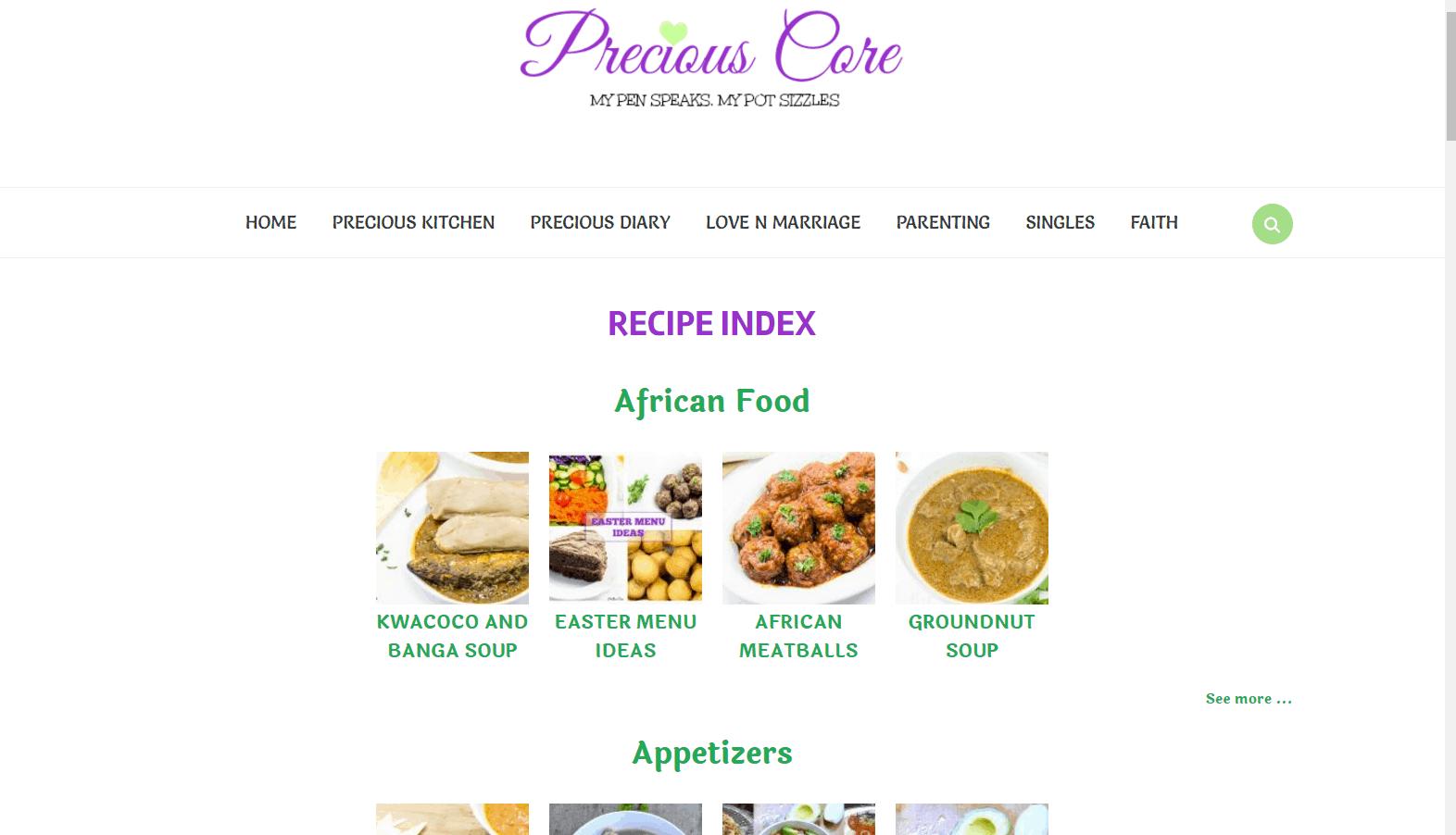 Precious Core Recipe Index