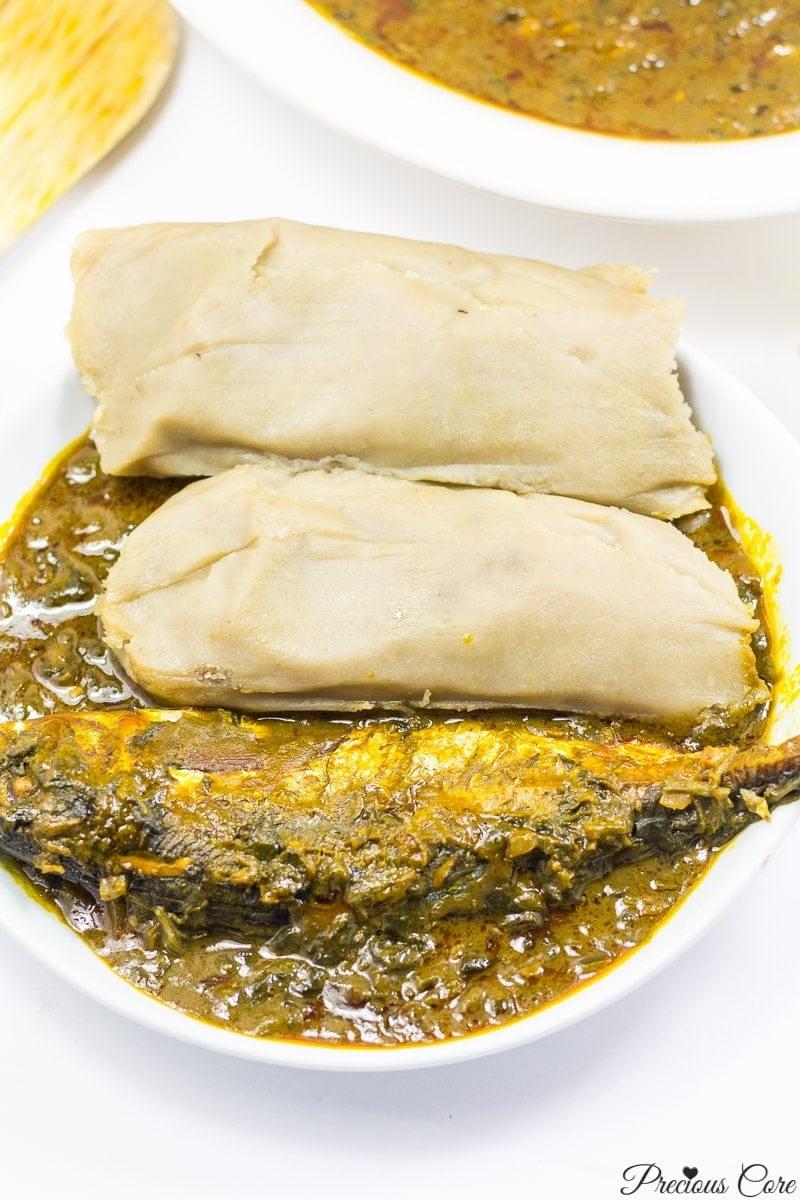 Kwacoco and banga soup