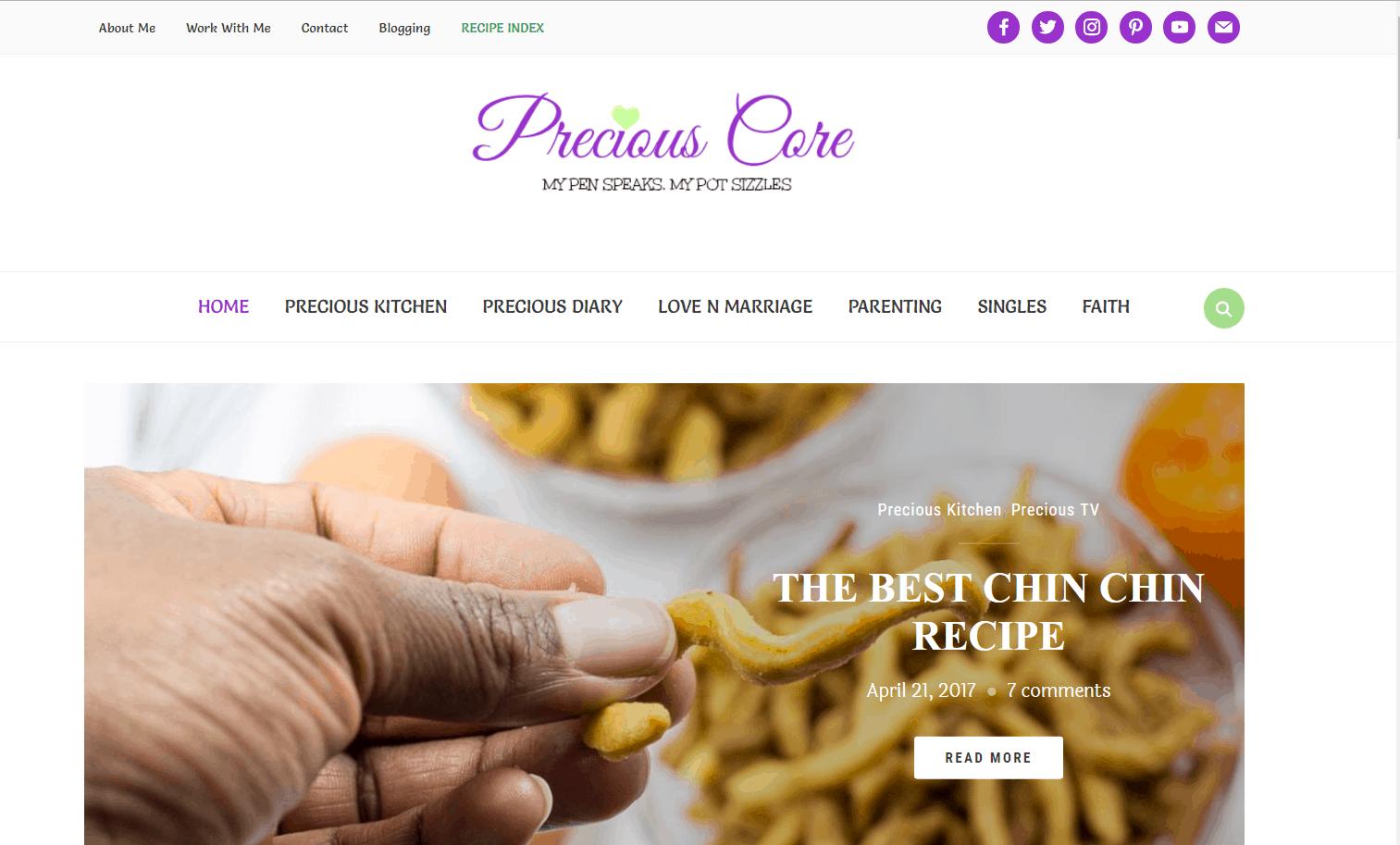 top menu recipeindex
