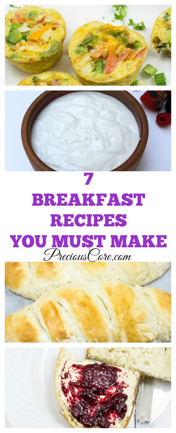 7 breakfast recipe ideas. The range from make-ahead to fast and easy!