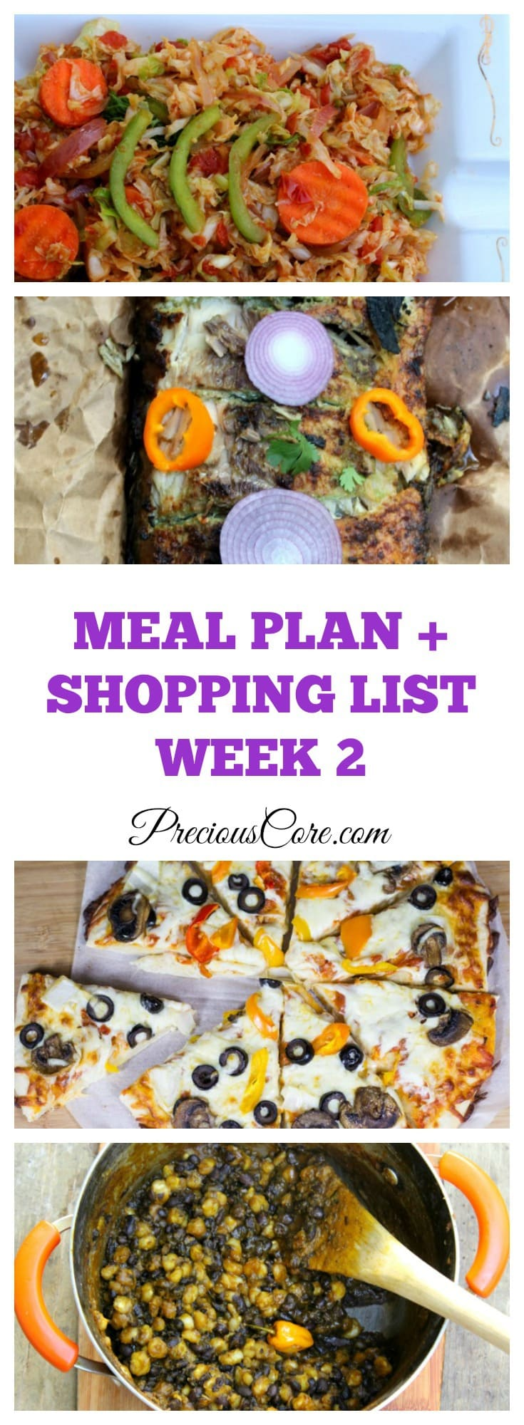 Meal Plan + Shopping List Week 2 - Precious Core