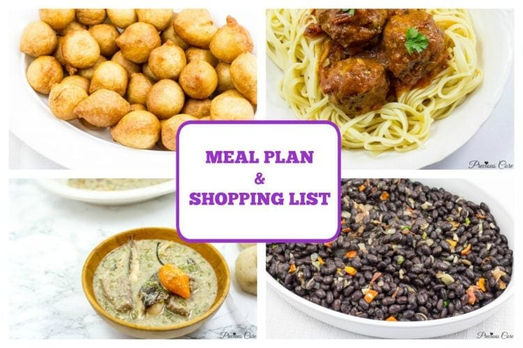 Meal plan shopping list week 1 precious core african menu plan forumfinder Choice Image