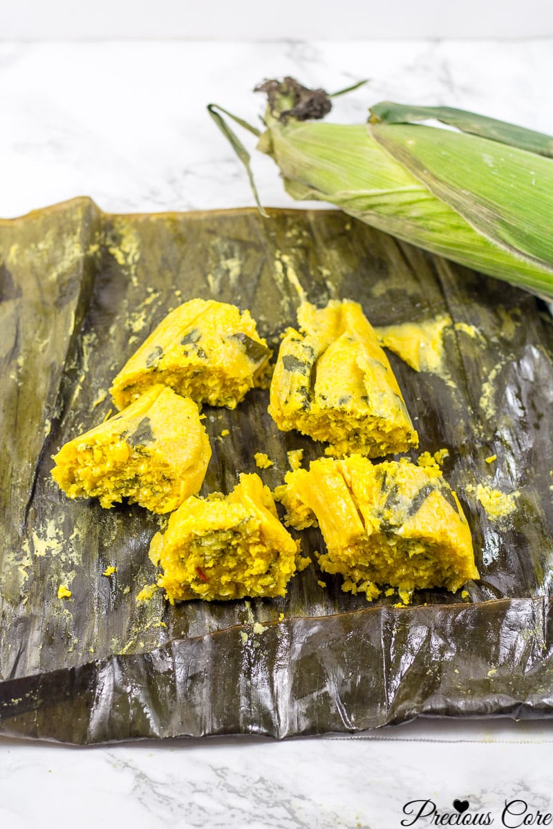 African fresh corn tamales