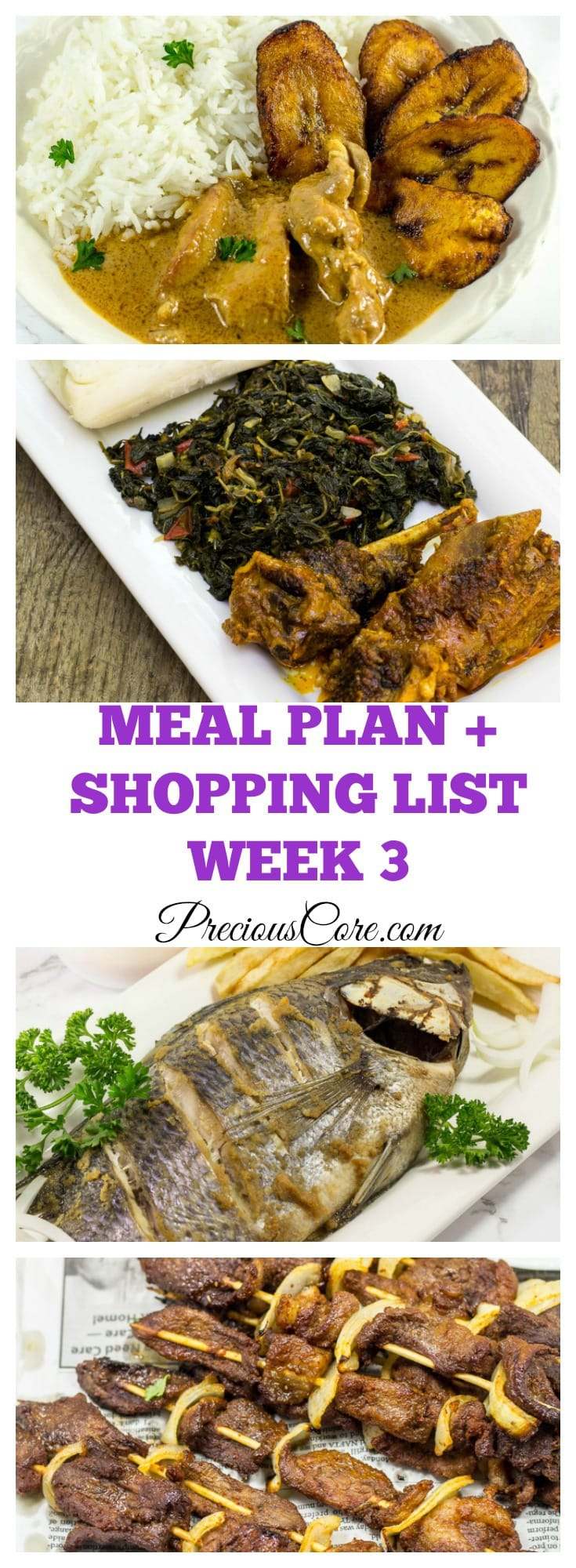 West African inspired weekly meal plan