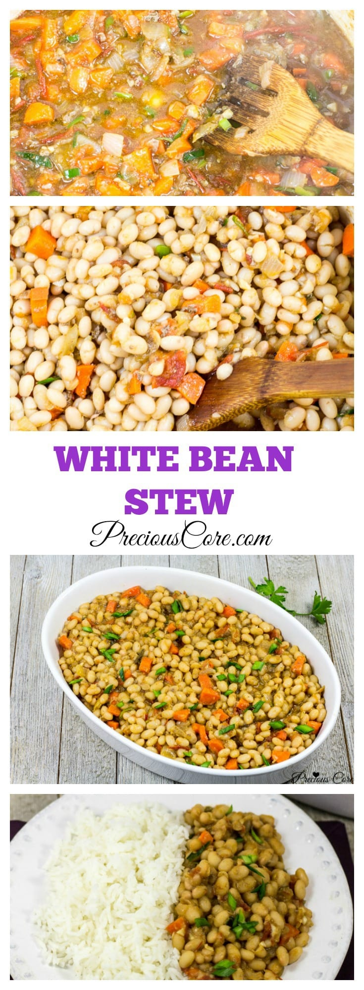 Stewed white beans with tomatoes.