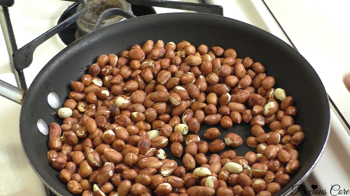 Making cameroon groundnut sweet roasted peanuts