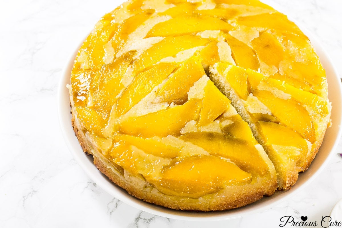 upside down mango cake