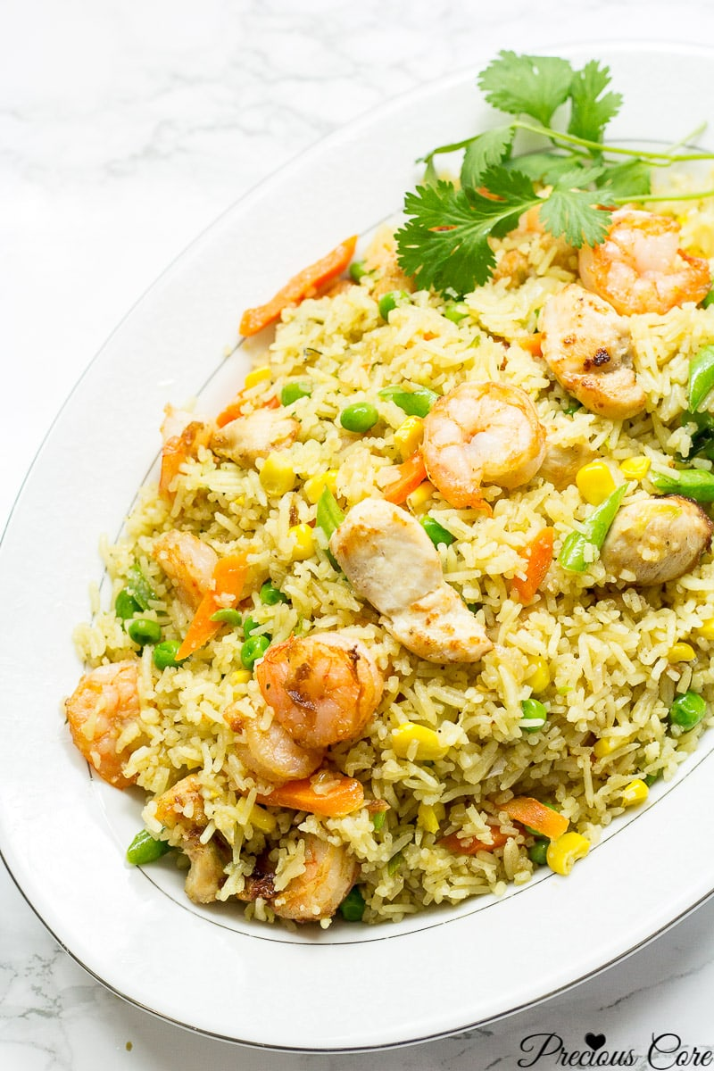 Cameroon fried rice - chicken and shrimp fried rice