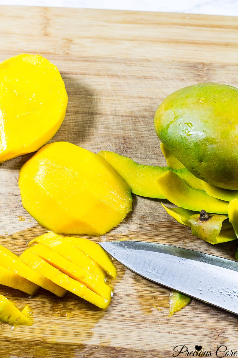 1/2 inch thick mango slices