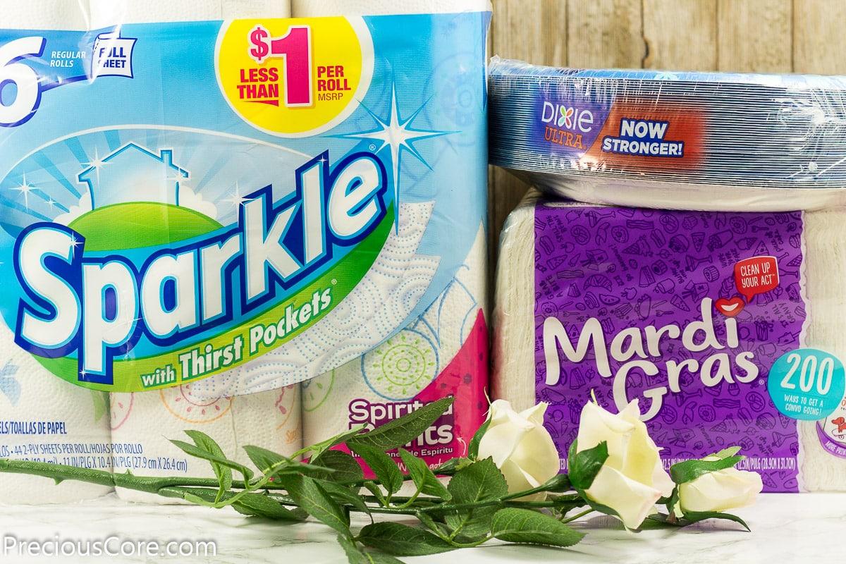 Sparkle paper towel, Mardi Gras Napkin and Dixie Plates