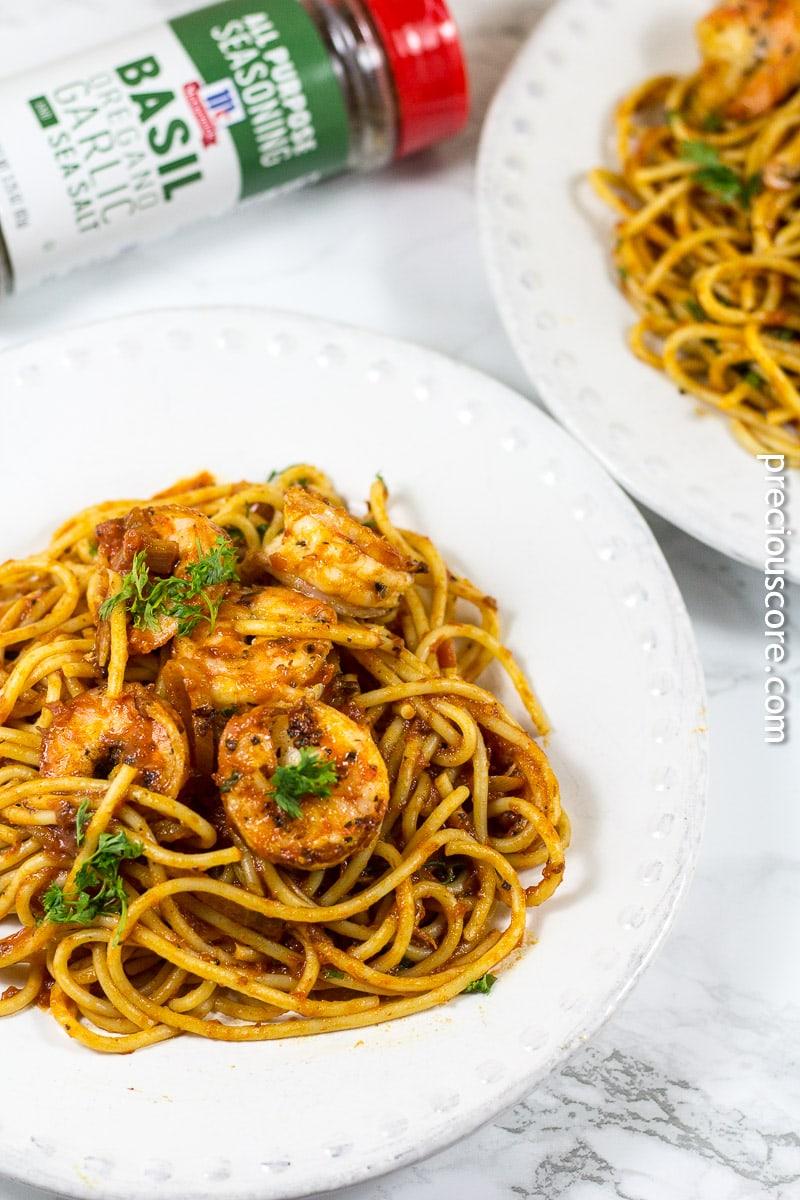 Blackened Shrimp and Pasta Dinner
