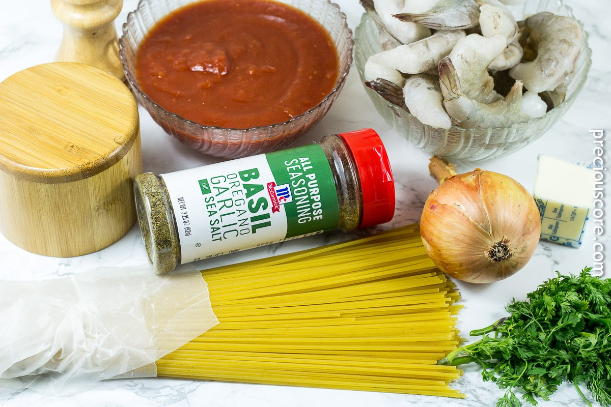 Ingredients for blackened shrimp pasta
