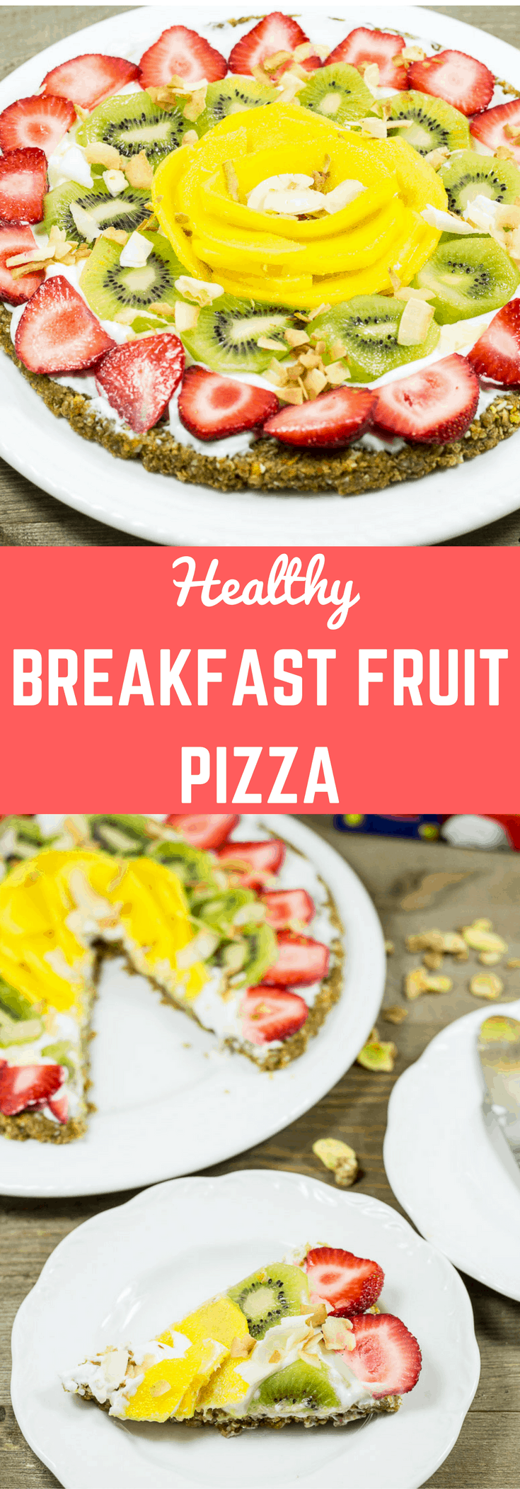 This breakfast pizza is made with a nutty cereal crust then topped with Greek yogurt and fruits. It is a healthy, quick and easy breakfast recipe.