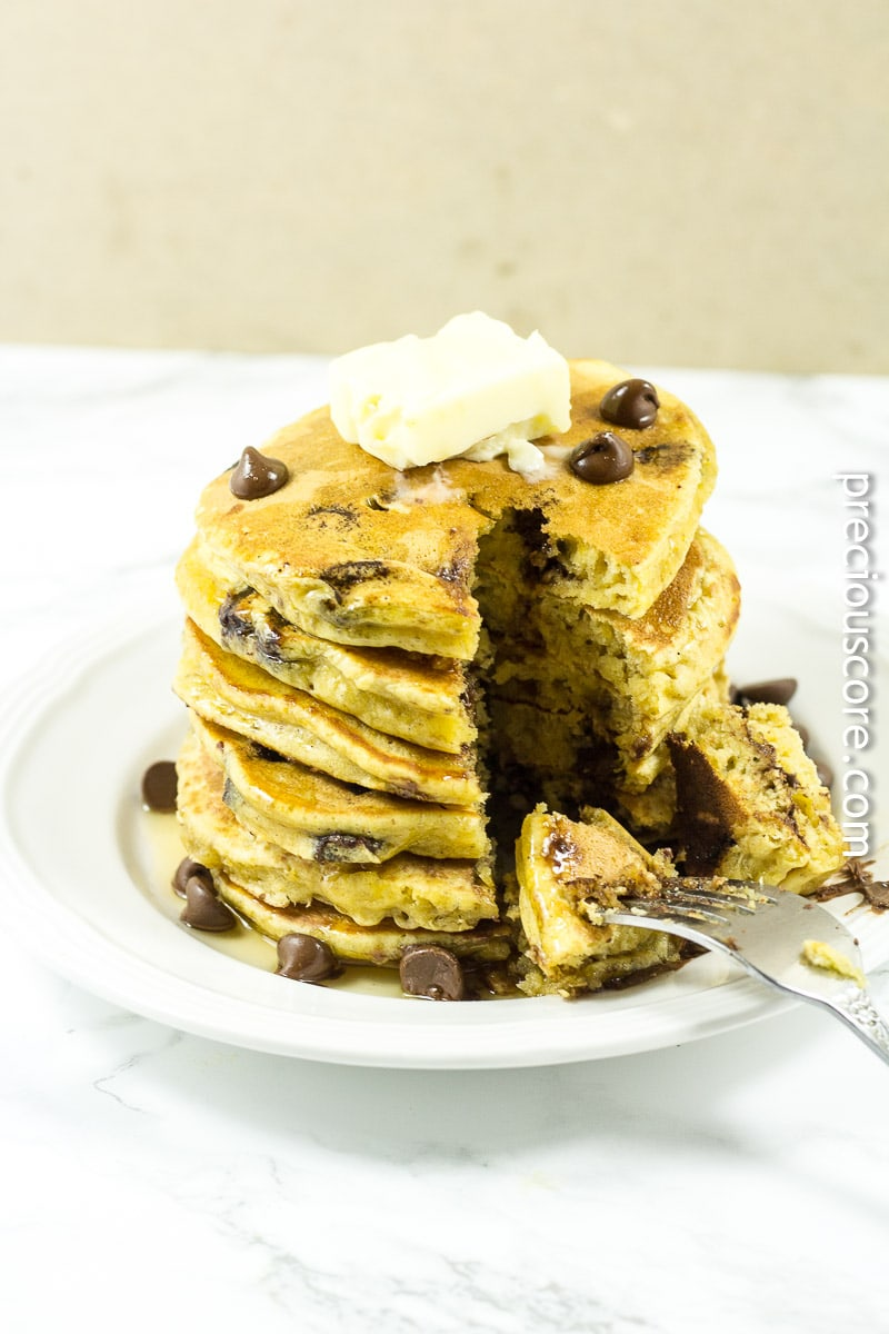 Pumpkin pancakes made with chocolate chips