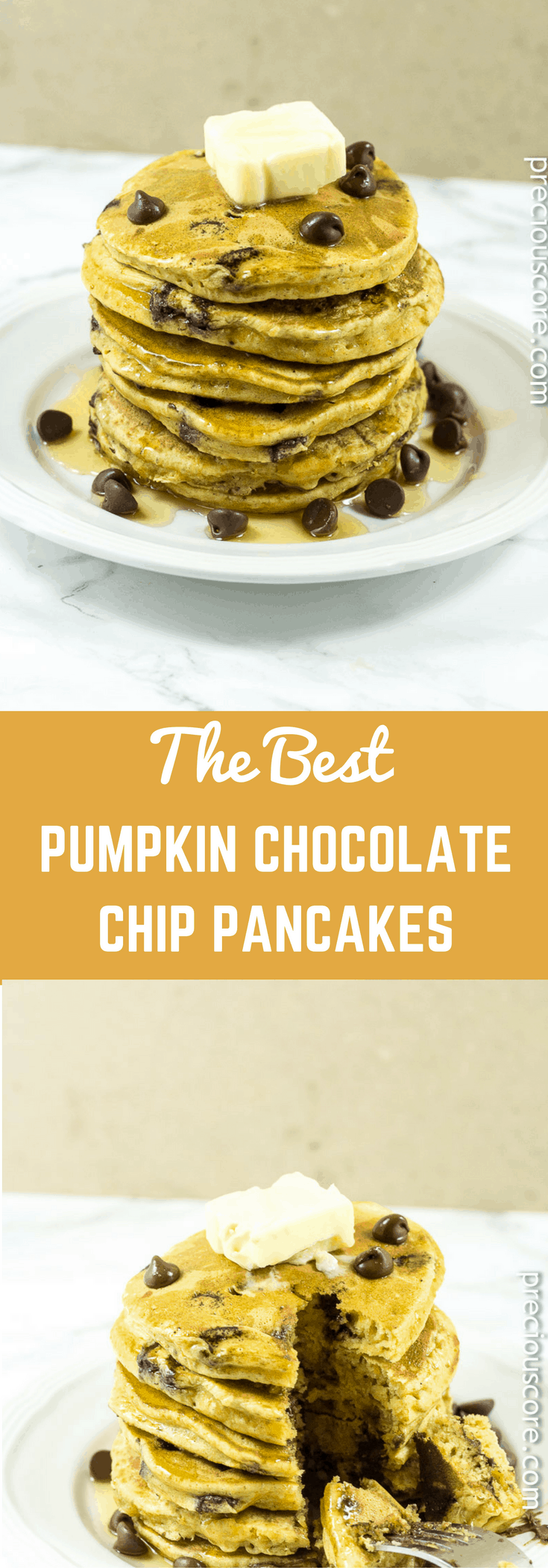 These pumpkin chocolate chip pancakes are the perfect fall breakfast though you can totally enjoy them at anytime of the year. Get the full recipe at Precious Core.