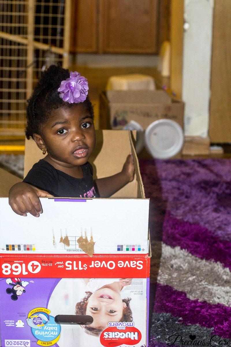 repurpose diaper boxes into toys