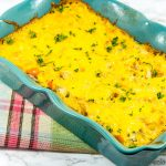 Chicken and rice casserole made in the oven. One-pan dinner recipe.