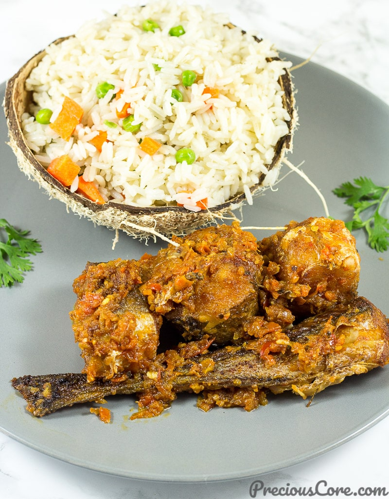 Coconut rice served with peppered fish