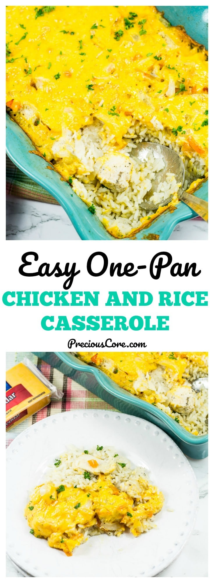 This baked chicken and rice casserole is made in one pan with very few ingredients. An easy cheesy dinner the whole family will love! Get the recipe on PreciousCore.com. #AD #CheeseLove #Giveaway