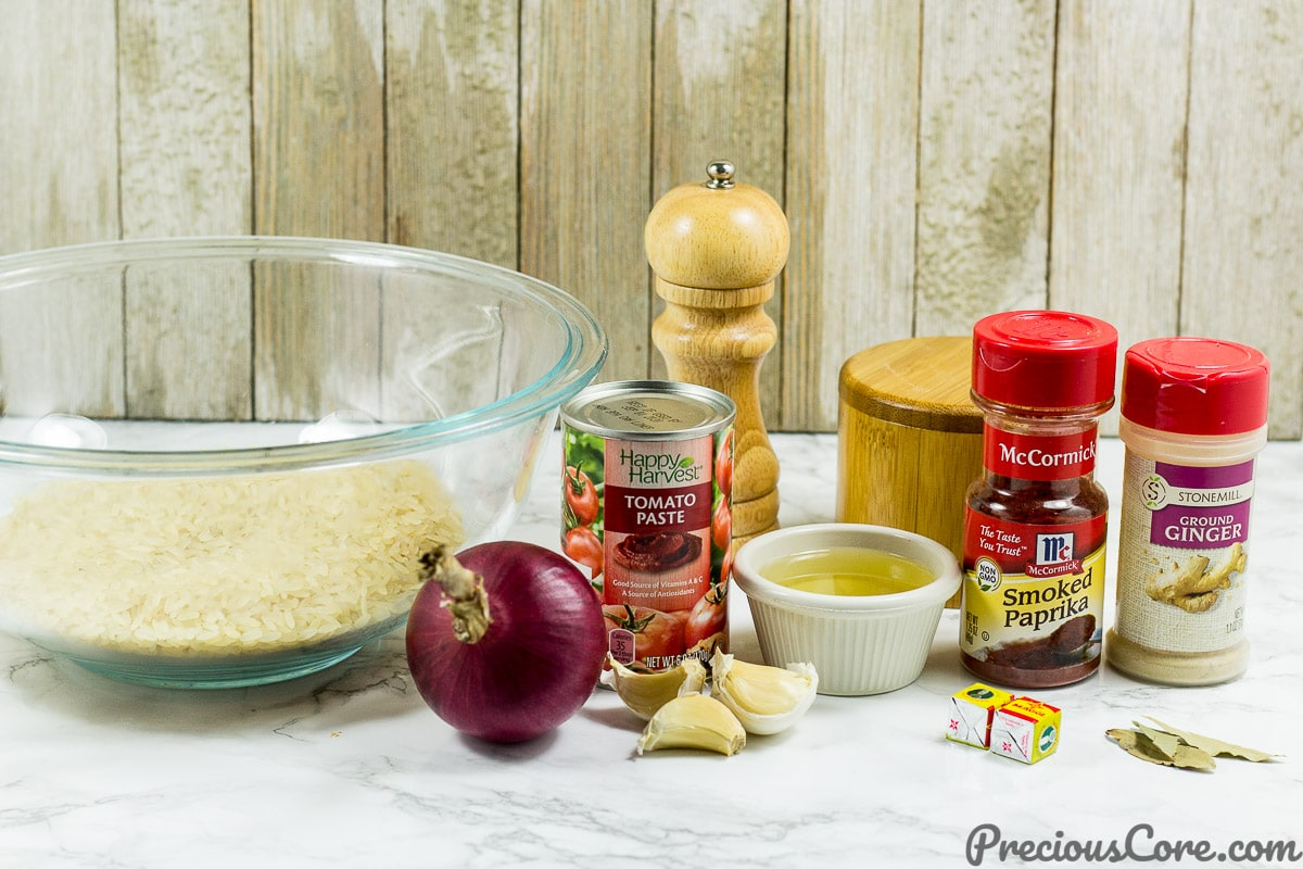 Ingredients for oven-baked rice