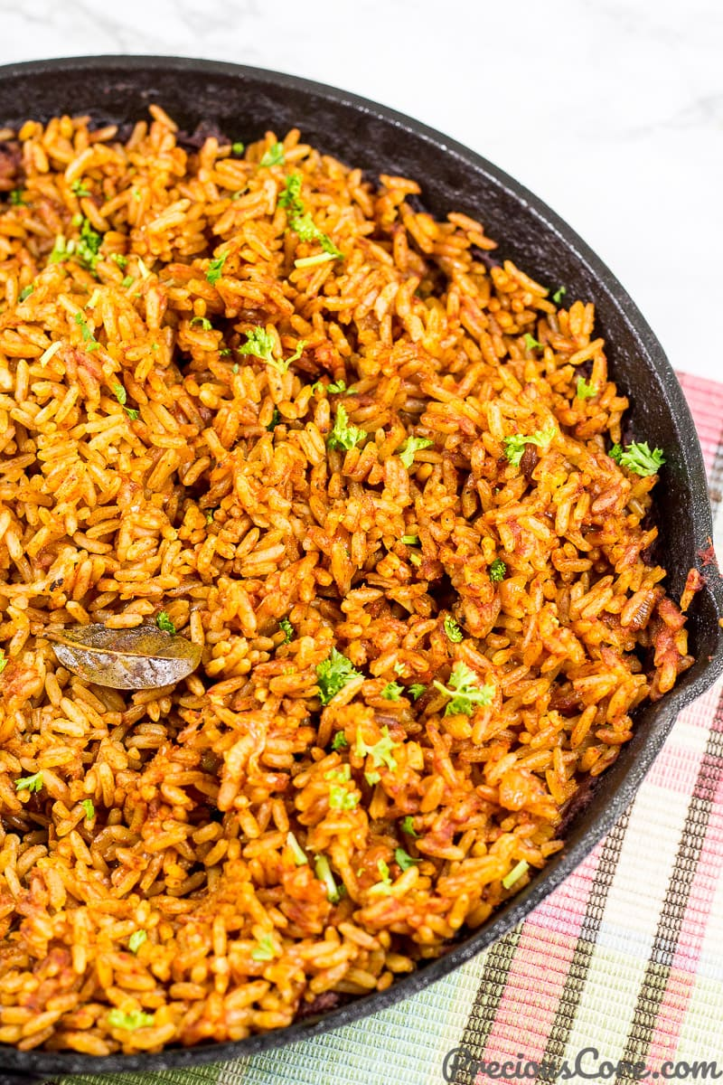 Easy Jollof Rice made in the oven.