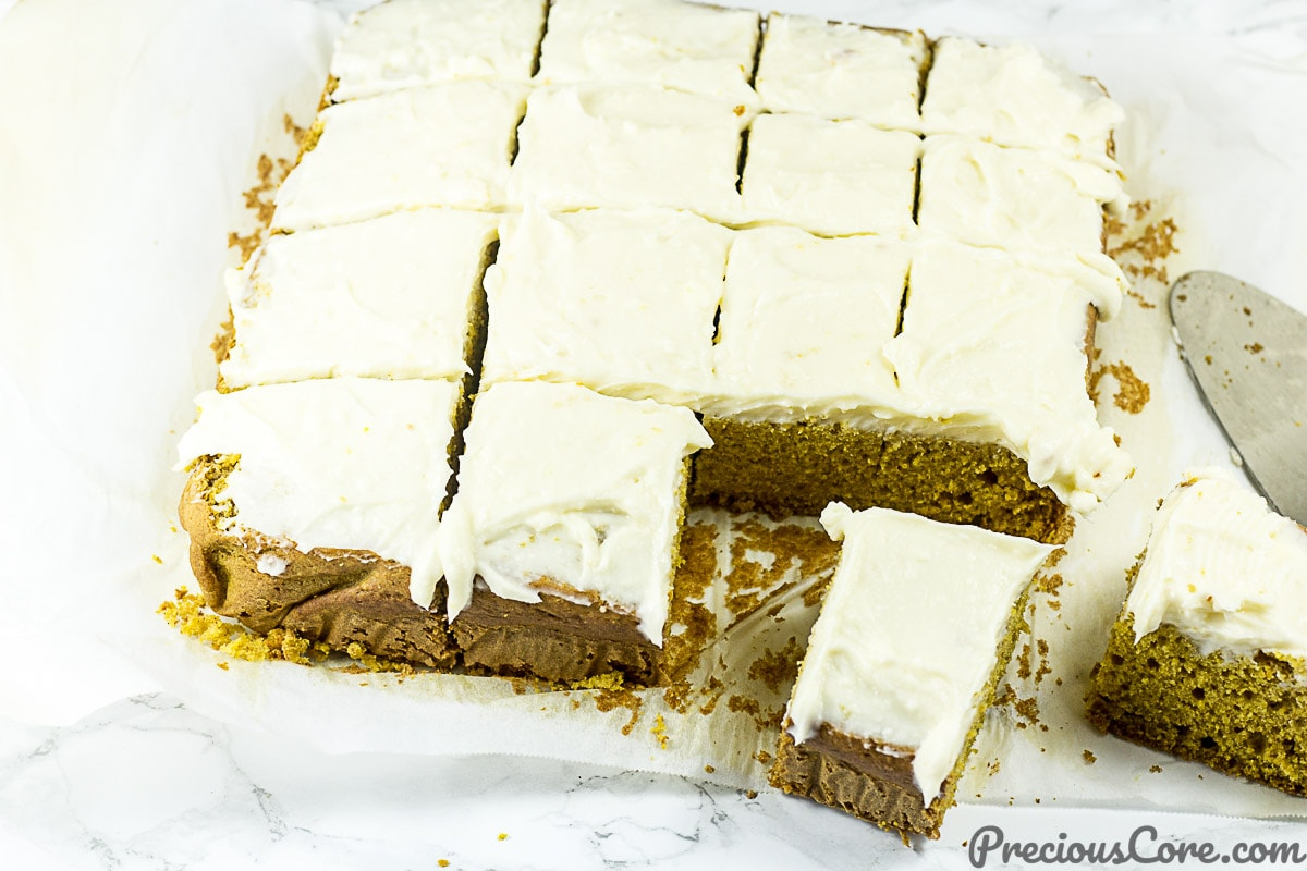 Pumpkin cake slices from Pumpkin Cake with Cream Cheese Frosting