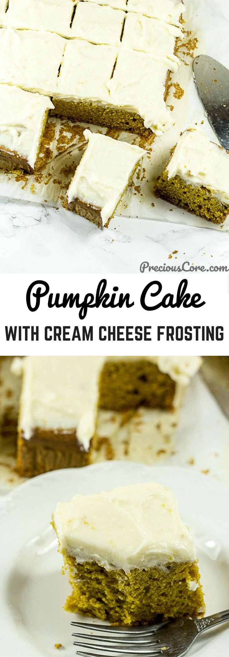 The best ever Pumpkin Cake with Cream Cheese Frosting. Perfect for your Thanksgiving/celebration table! #Thanksgiving #Thanksgiving2017 #Cakes #PumpkinCake