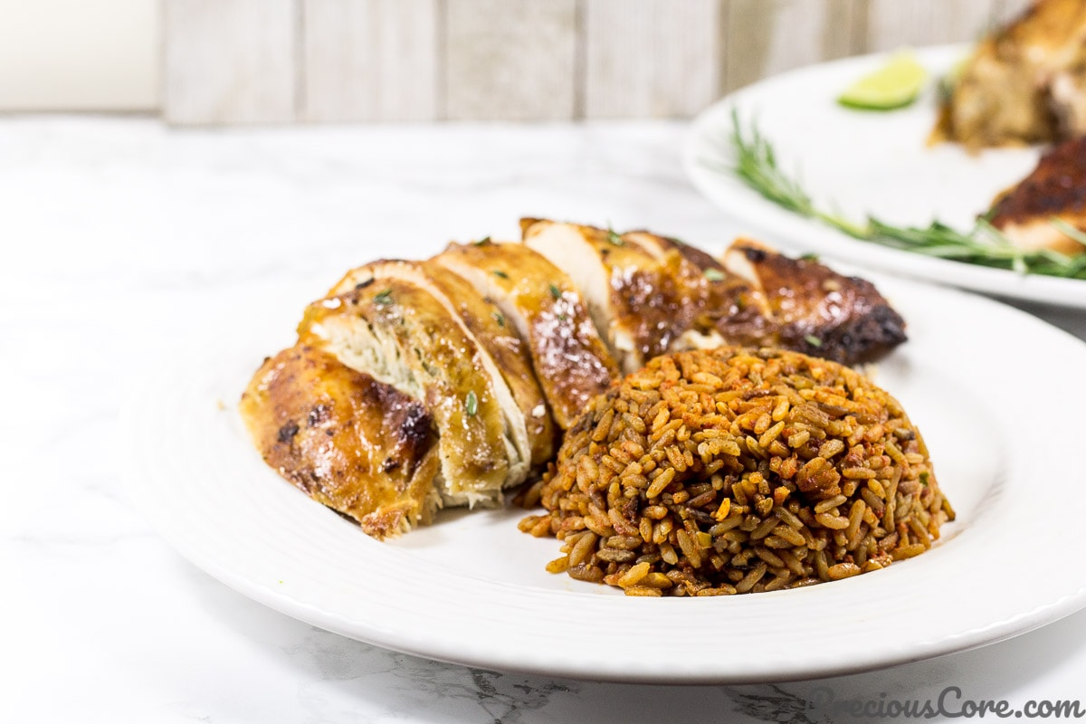 Thanksgiving Turkey African style served with Jollof Rice