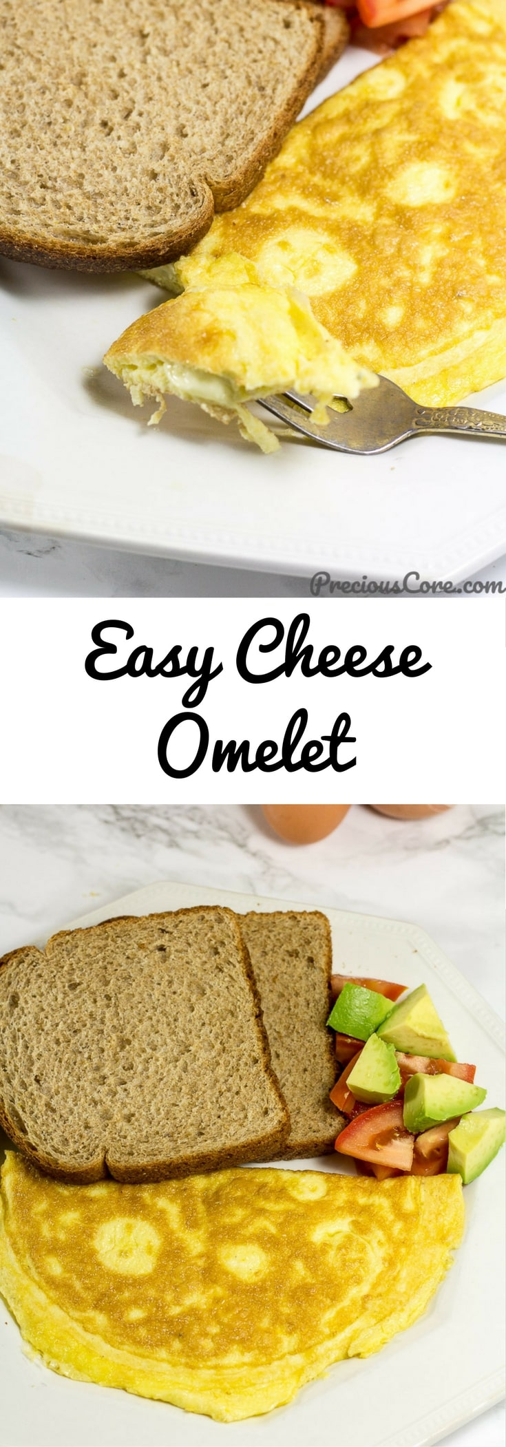 Here is how to make an omelet with cheese. This easy cheese omelet is the perfect breakfast recipe. I love serving it with whole wheat bread with some sliced tomatoes and avocado. So good! Get the recipe on Precious Core. #Cheese #Breakfast #Omelette #Omelet #Ad