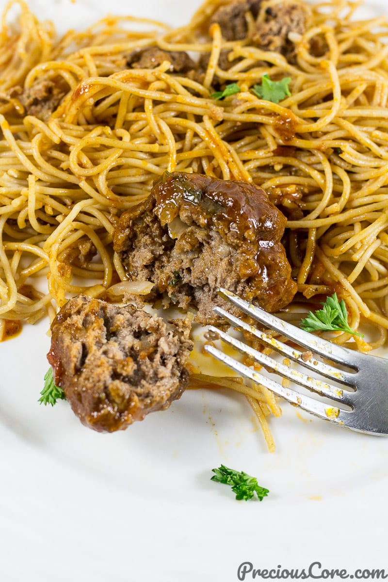 African meatballs and spaghetti.