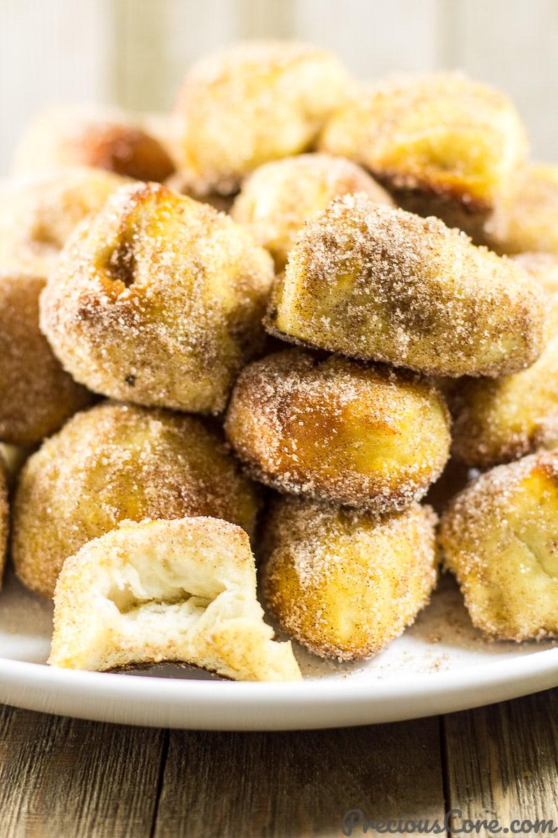 Auntie Anne's Cinnamon Sugar Pretzel Bites all homemade. Get the recipe on preciouscore.com