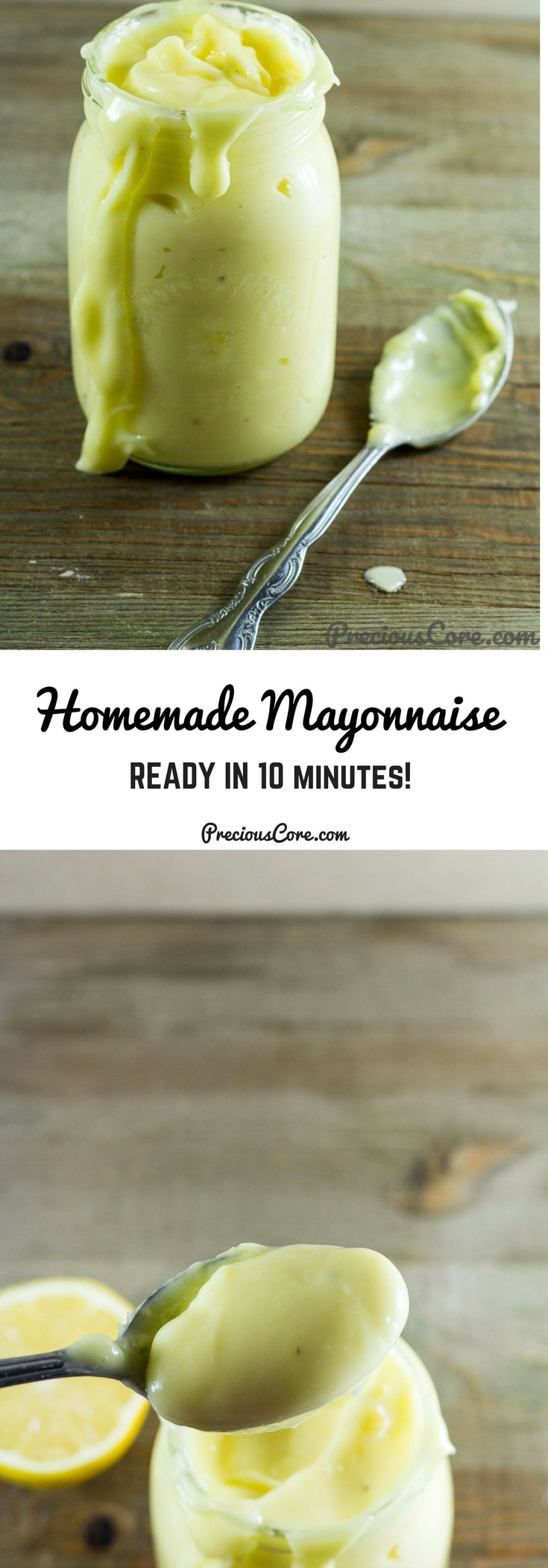 How to make mayonnaise at home! This homemade mayonnaise recipe is so easy, tastes insanely good and much healthier than storebought. Use it on sandwiches, salads, for dips and more! Recipe on PreciousCore.com. #Mayonnaise #Homemade