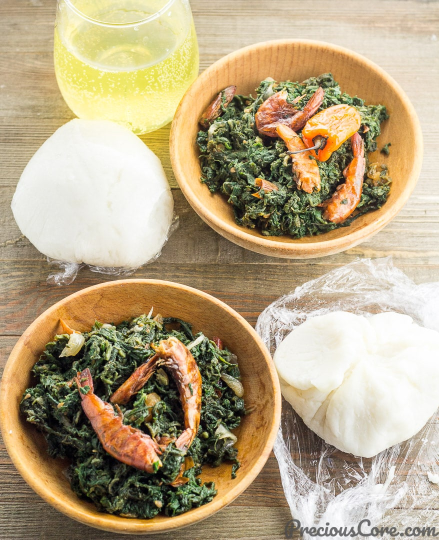 Corn Fufu and Pumpkin Leaf Stew