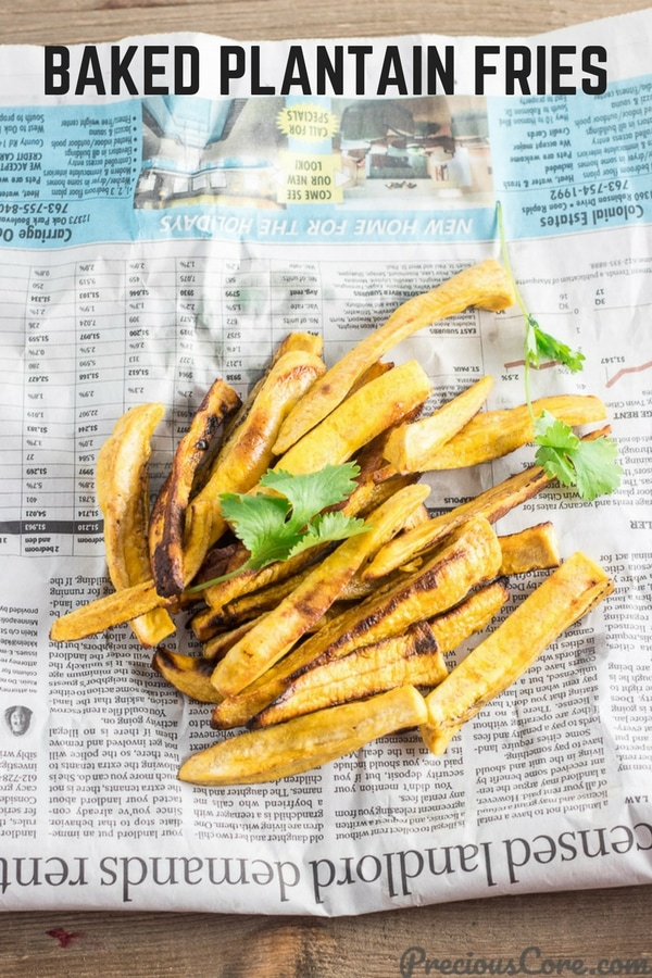 These Healthy Baked Plantain Fries are a delicious alternative to regular potato fries. Enjoy guilt-free the same way you will enjoy fries. So crunchy and delicious! Get the full recipe on Precious Core. #fries #sides #vegan #healthy