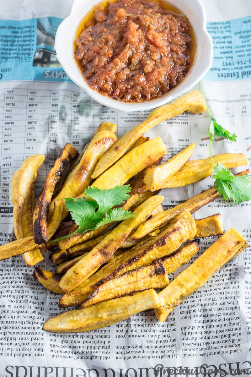 Healthy Baked Plantain Fries served with African Pepper Sauce