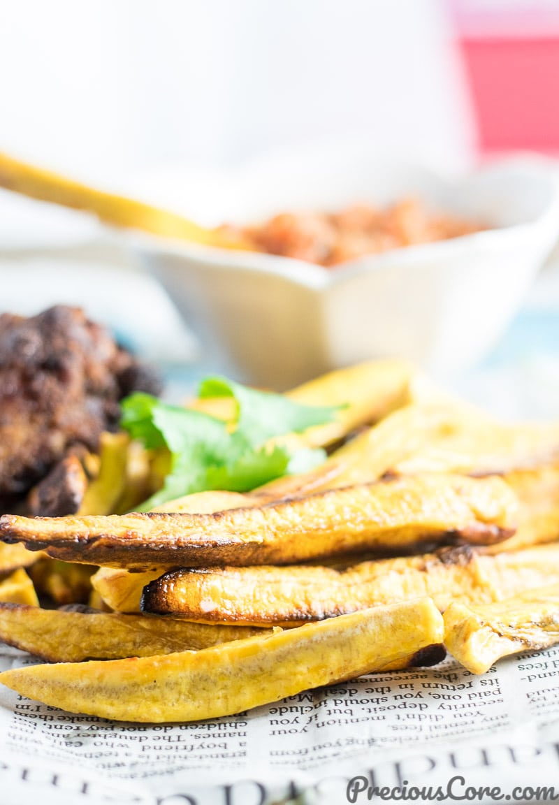 Healthy Baked Plantain Fries recipe. African vegan recipe on Precious Core.
