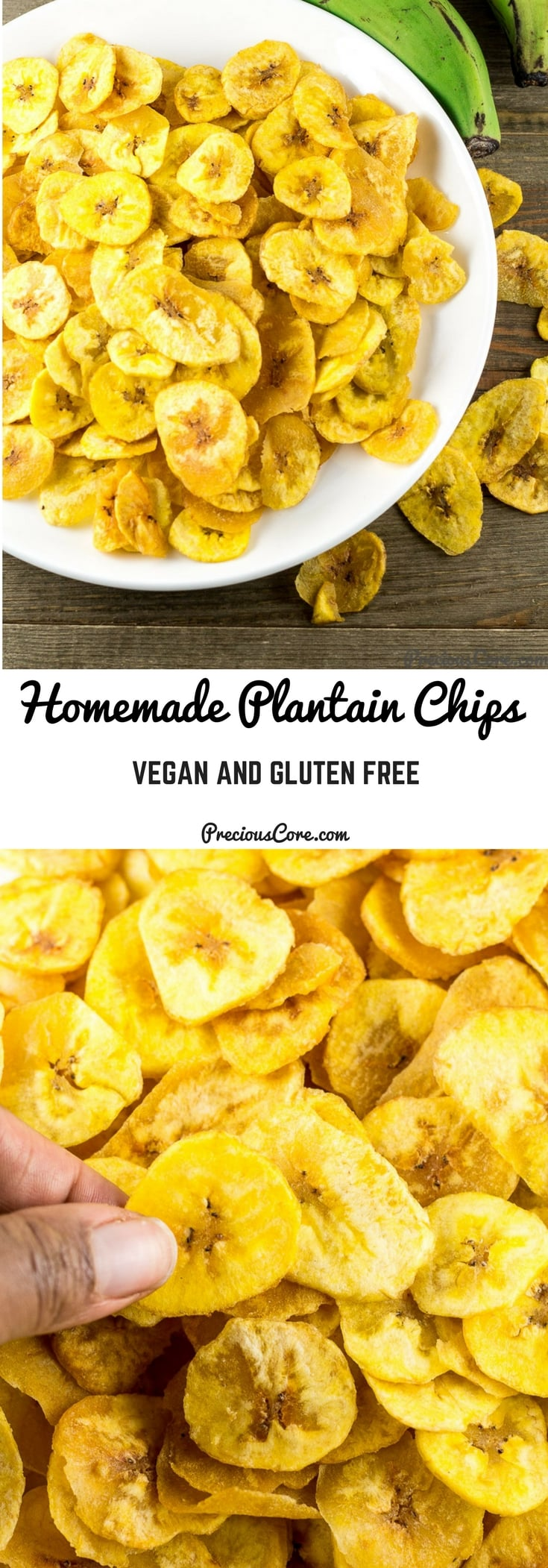 These homemade plantain chips are extra crispy, so tasty and so good! Also, they are vegan and gluten free. The perfect snack to indulge in! Get the recipe on Precious Core. #plantains #vegan #glutenfree