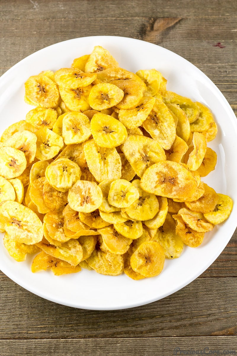 Homemade Plantain Chips on a plate.
