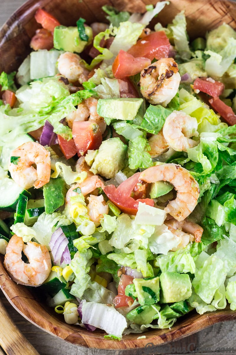 Delicious Shrimp Avocado Tomato Salad.