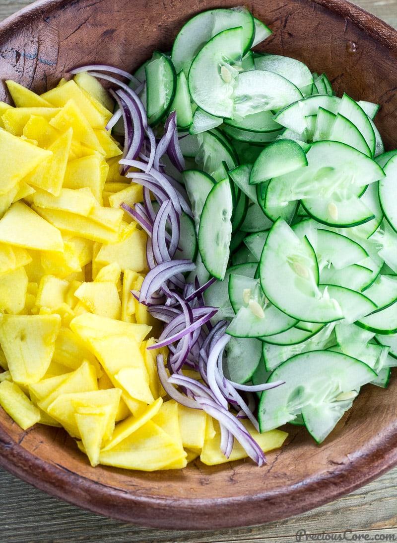 Cucumber Mango Salad in a bowl